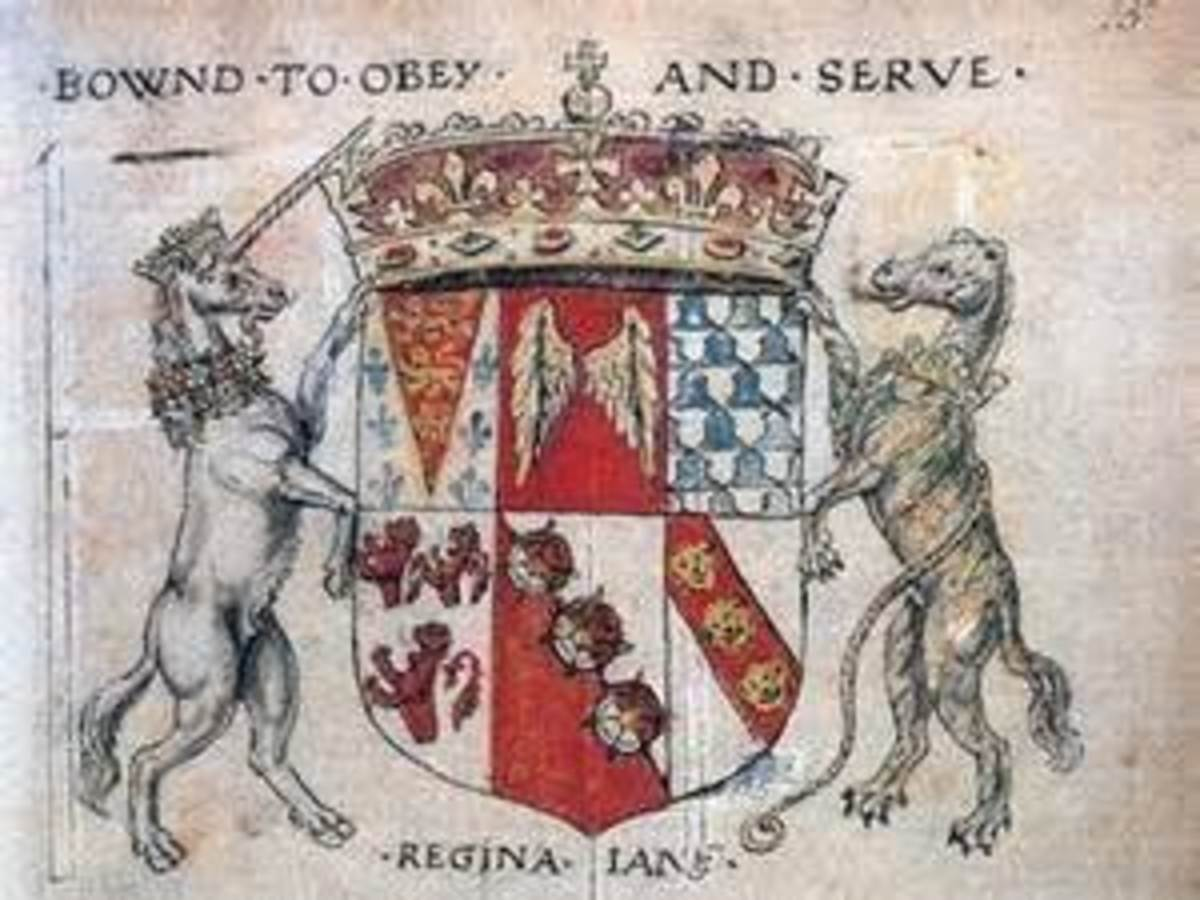 """Queen Jane's motto: """"Bound to Obey and Serve."""""""