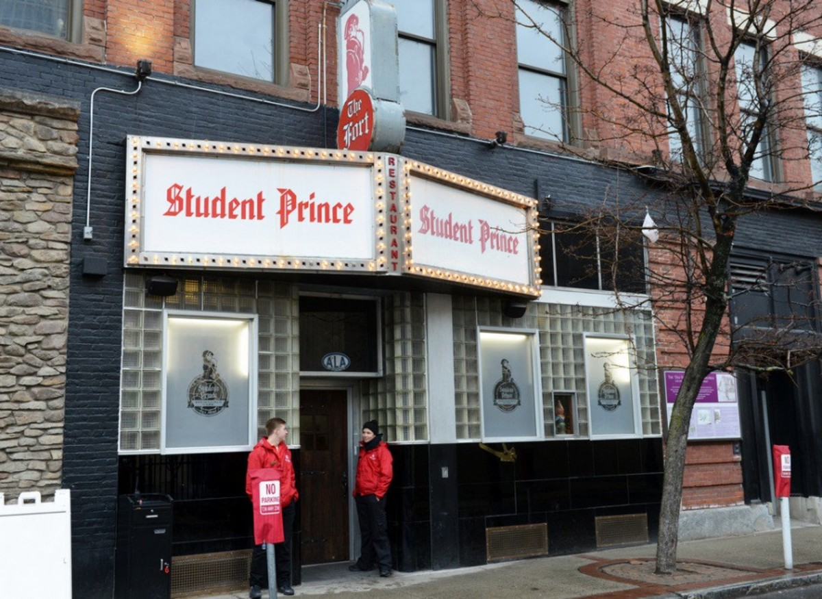 The Student Prince restaurant is located at 8 Fort Street in downtown Springfield, MA.
