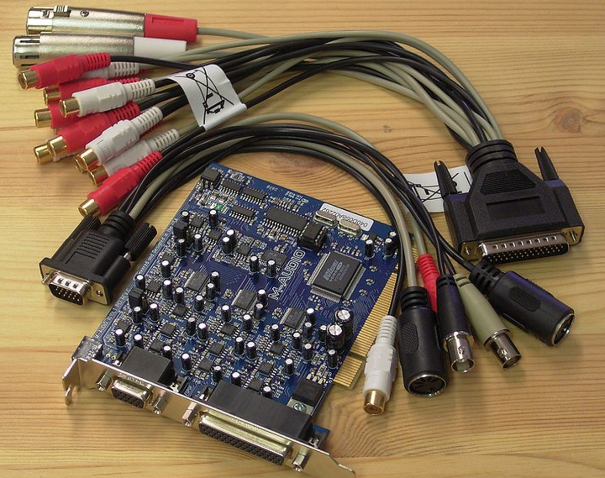 A PC sound card and MIDI cables