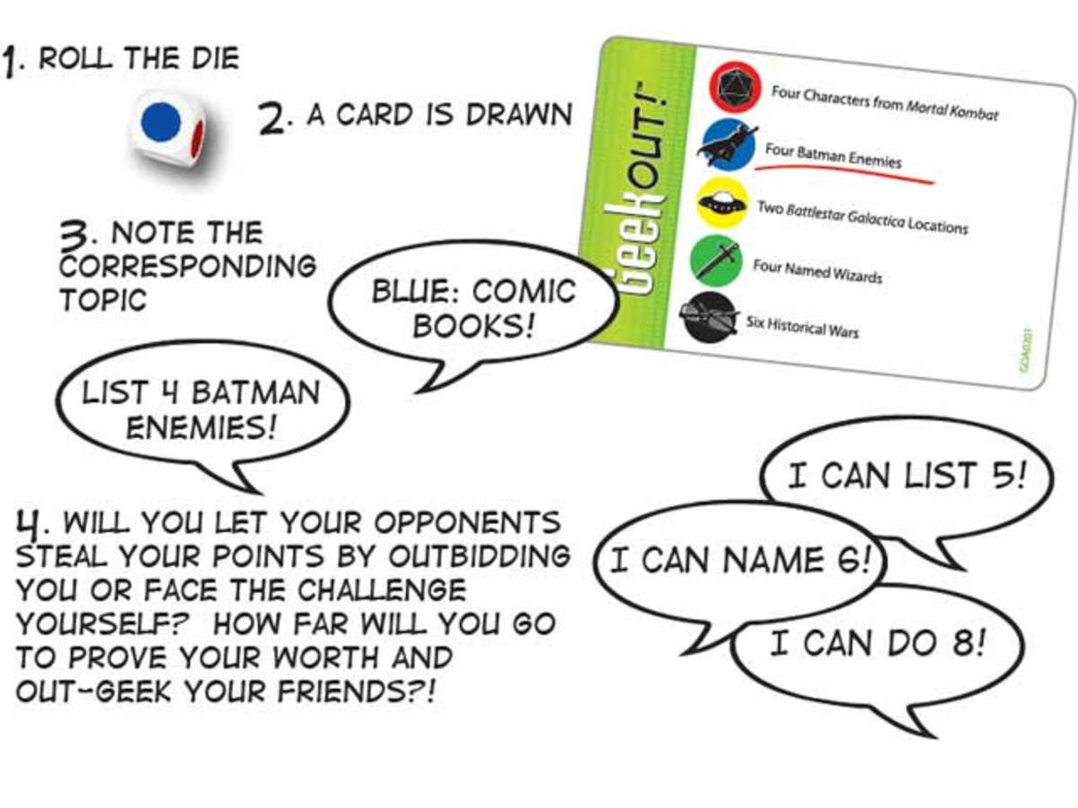 Instructions on how to use a card from Geek Out!