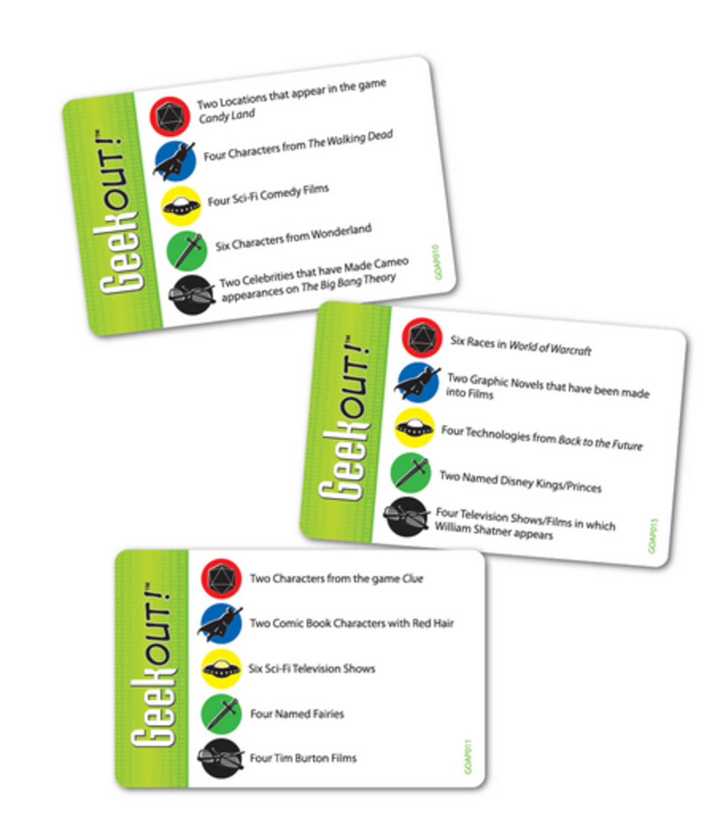 Some card examples of the Geek Out! trivia game.