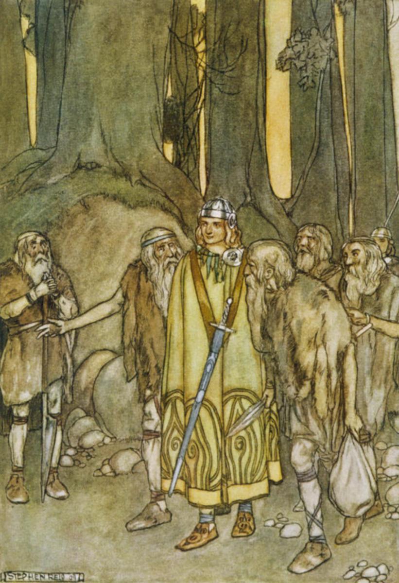 Finn McCool (mac Cumhaill) comes to aid the Fianna (Stephen Reid 1932)