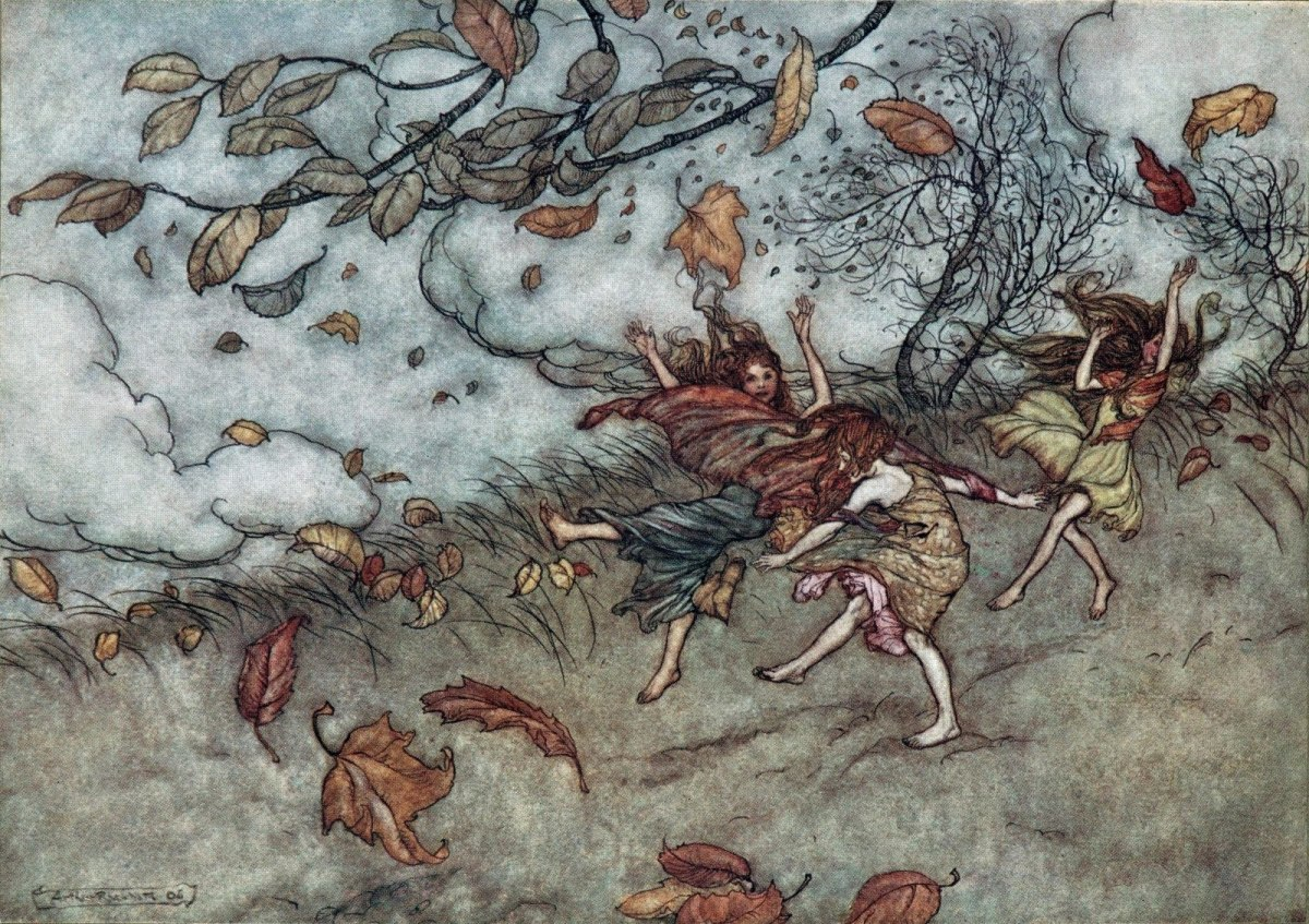 Autumn fairies dancing in the wind (Arthur Rackham)
