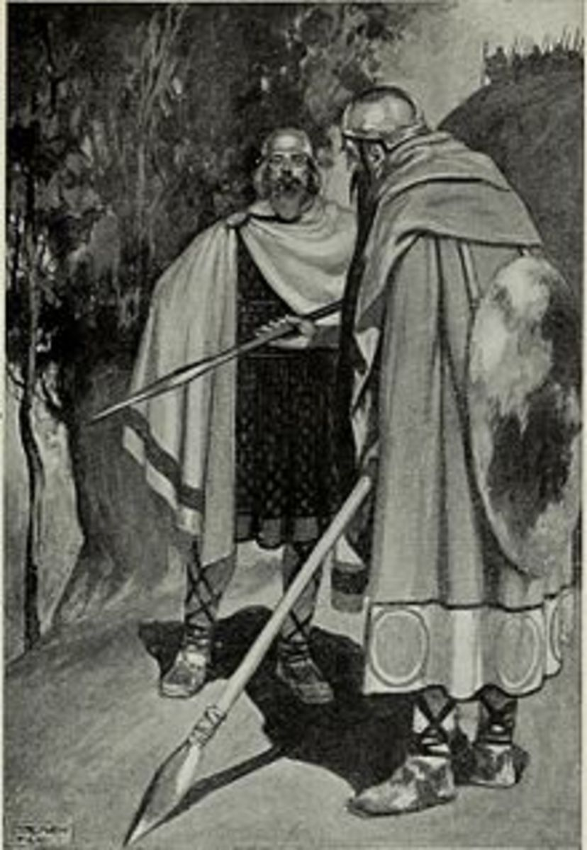 Ambassadors of the Fir Bolg and Tuath De meeting before the Battle of Moytura (J.C. Leyendecker in T.W. Rolleston's Myth's & Legends of the Celtic Race 1911)