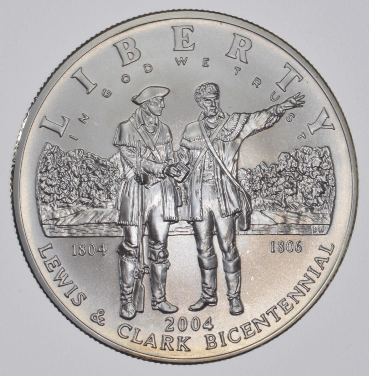 2004 United States Lewis and Clark Bicentennial silver dollar commemorative coin.