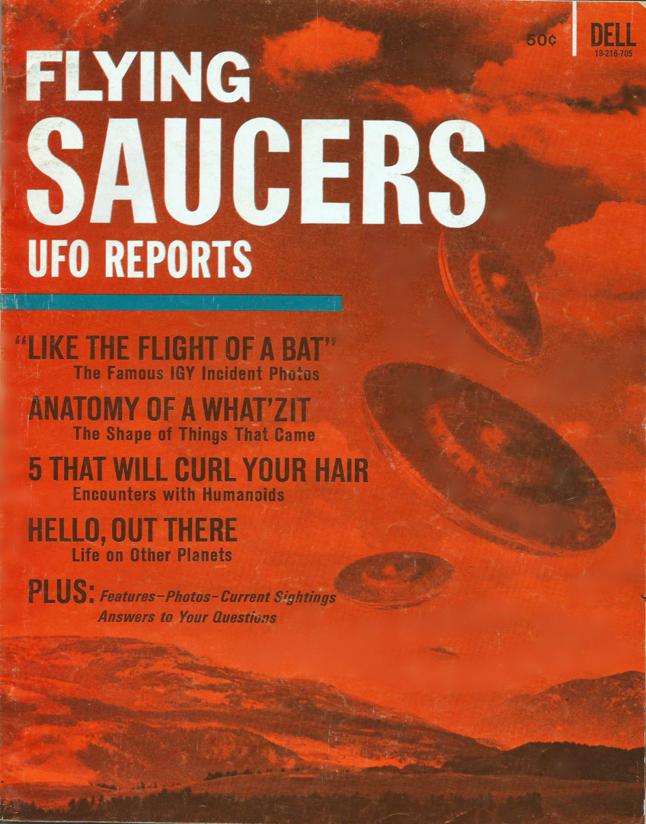 The First Issue of Flying Saucers UFO Reports 1967 by Dell Publishing Company. The single copy price was only 50 cents in the U.S.A. and Canada.