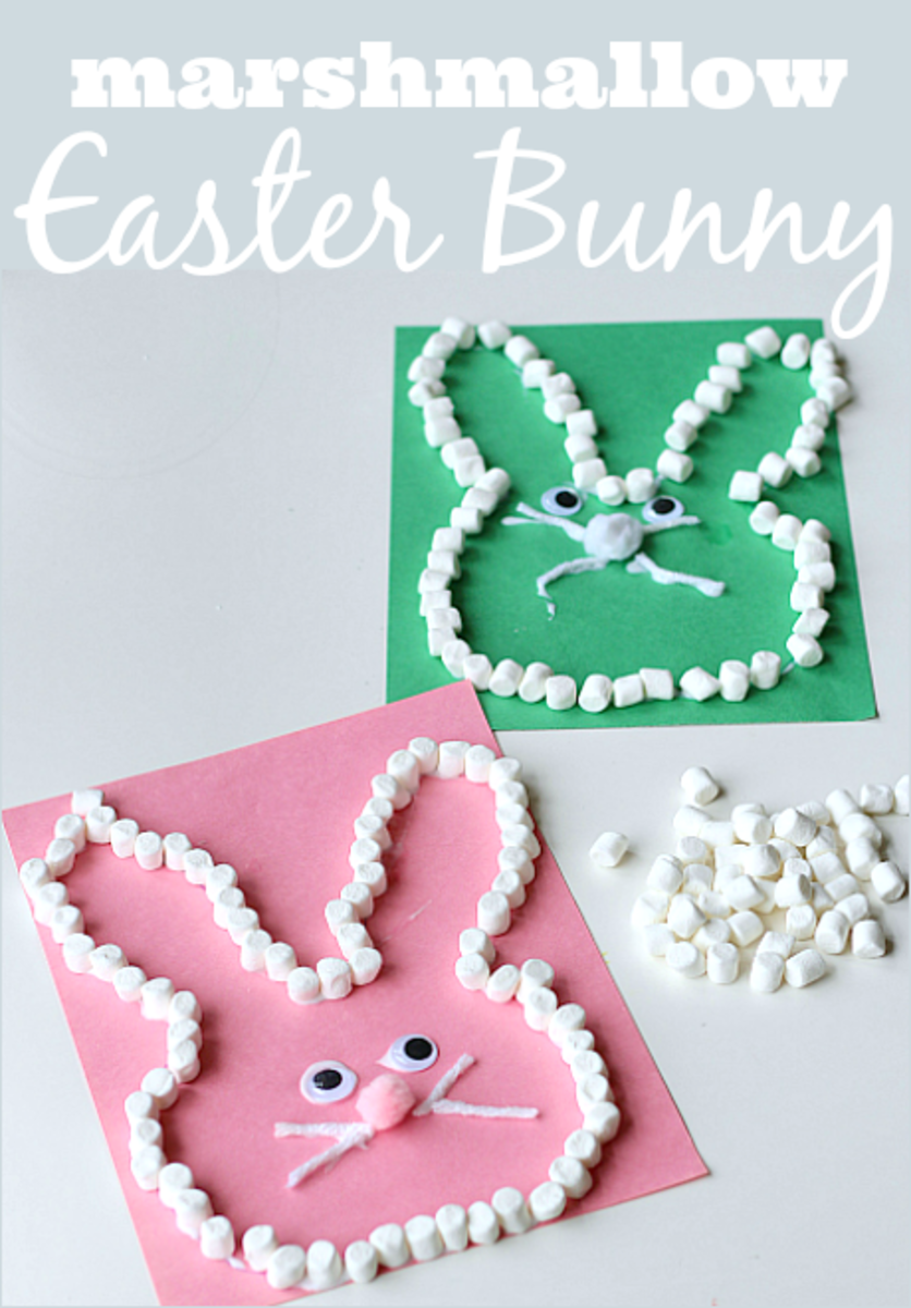 You can make these Easter crafts with some construction paper, mini-marshmallows, googly eyes, string, a pom-pom, and glue.