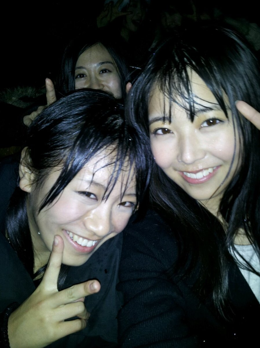 With Miru Shiroma (right) and now former AKB48 member Aina Fukumoto (left). You can see Kei in the background as her face can be seen in the upper corner of this photo.