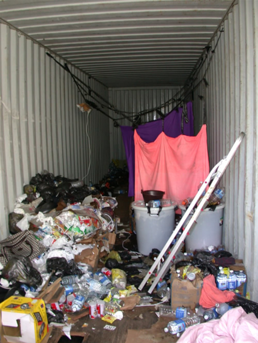 A container used to smuggle immigrants from China to Seattle.