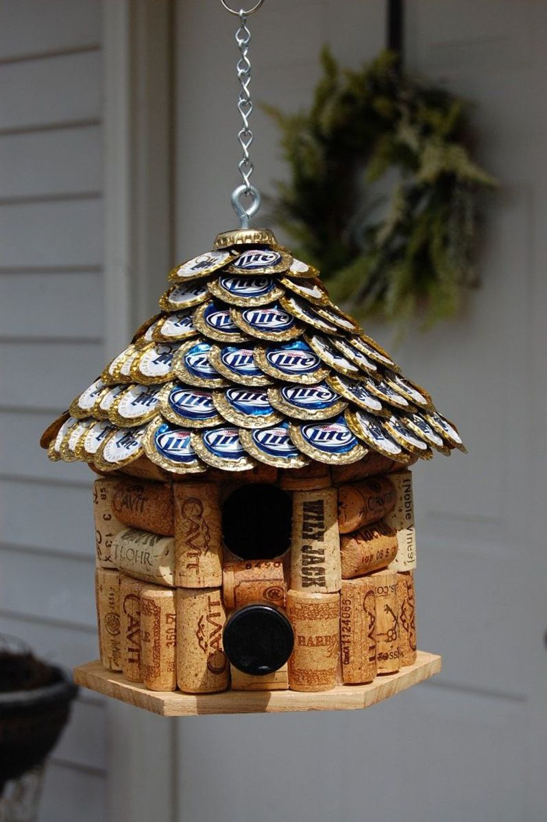 How about a Miller Lite birdhouse with wine corks?