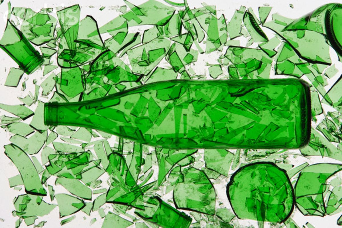 You make unique artwork from clean, broken bottle pieces.