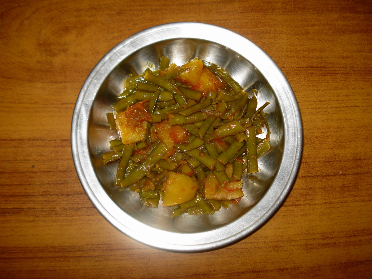 Gawar Phali and Potatoes Vegetable
