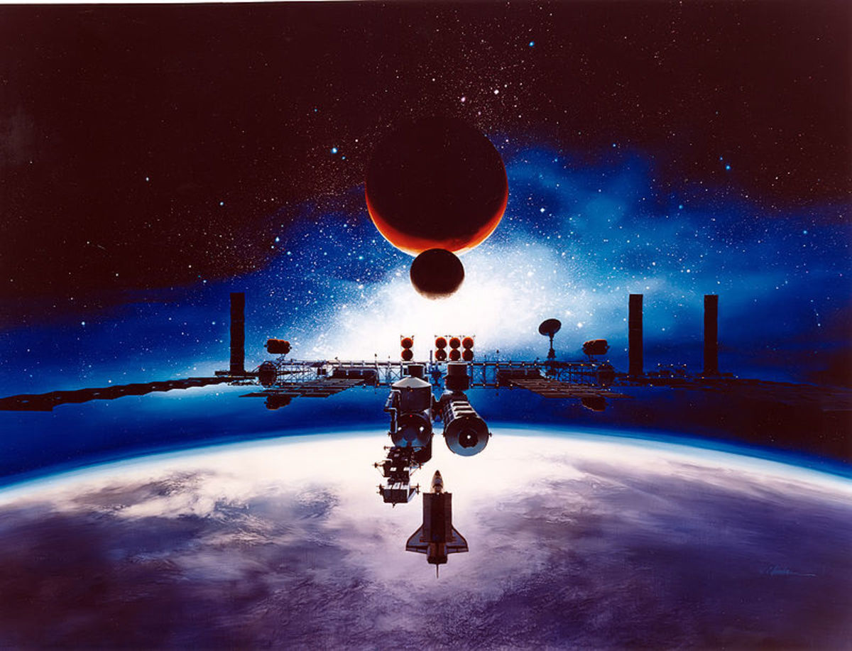 The space station Freedom, shown in a depiction by Alan Chinchar in 1991, was a proposed permanently crewed international research vehicle. It was never launched although Skylab and, later, the International Space Station were.
