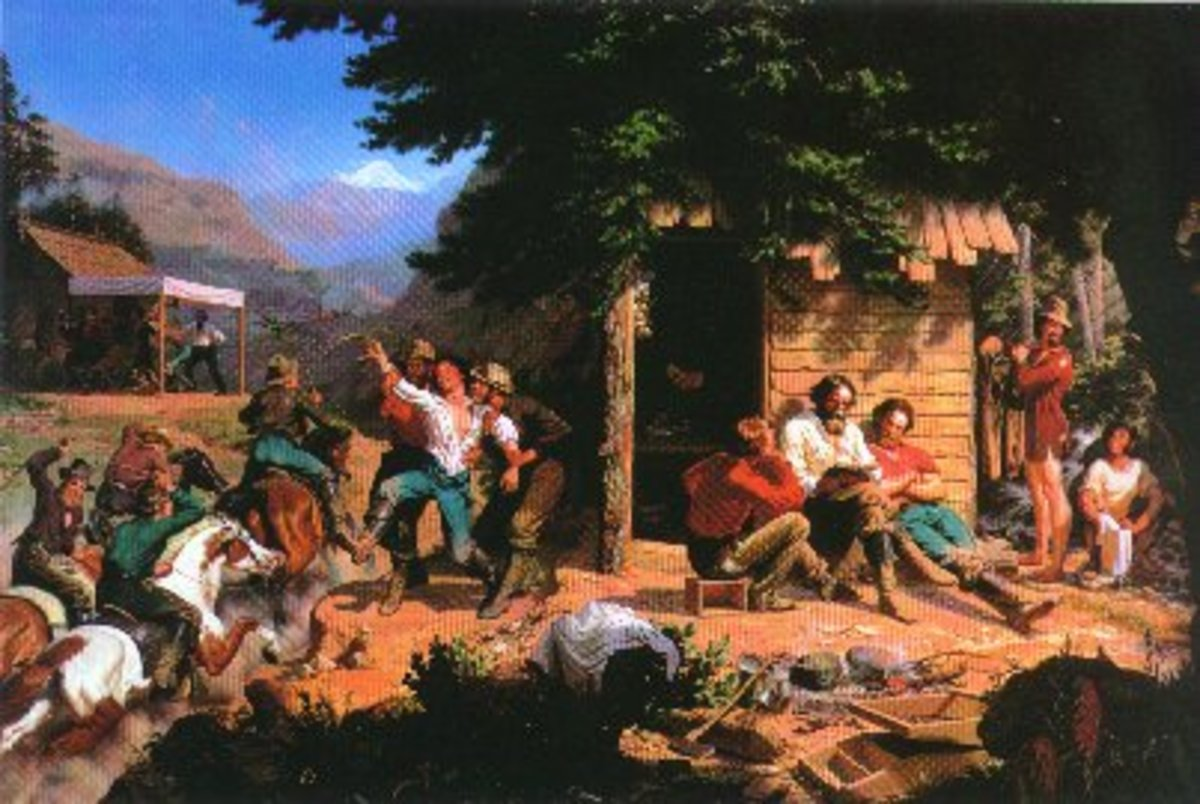 This painting shows the evolving culture of the gold rush as household roles and everyday life adapts to the thrill and often the peril of looking for gold.
