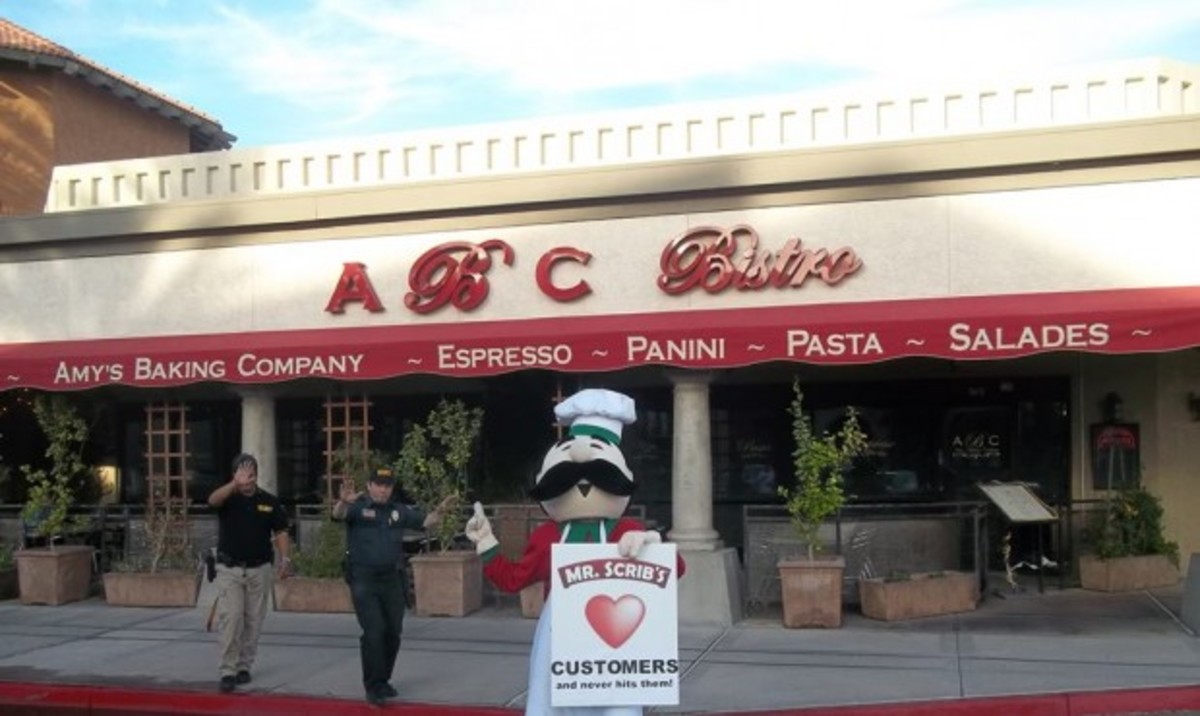 Mr Scrib's a nearby pizzeria pokes fun at Amy's Baking Company by sending their mascot to troll the company.