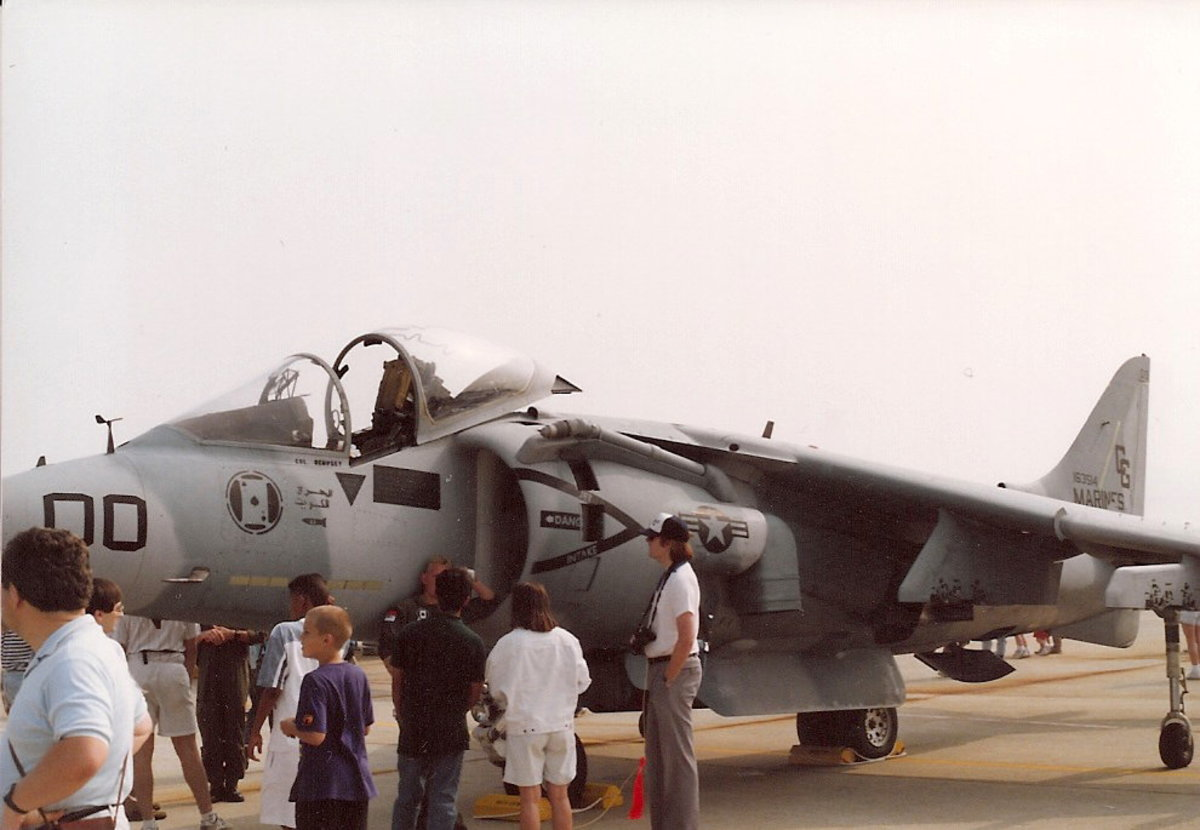 A USMC AV-8B that flew Operation Desert Storm missions at the May 1991 Andrews AFB, Joint Service Open House.