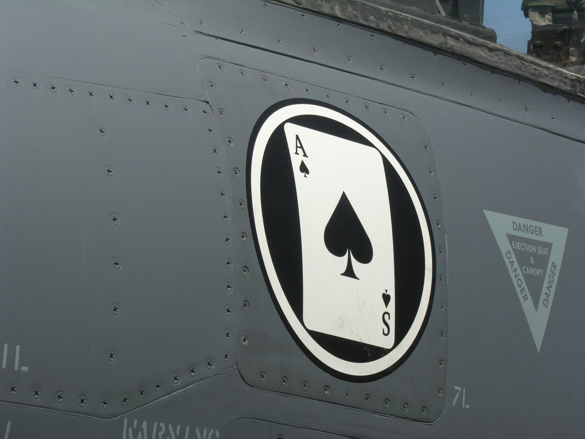 """The """"Ace of Spades"""" emblem of VMA-231, on the nose of a USMC AV-8B Harrier II, Bu Number 164562, Joint Base Andrews, May 2012."""