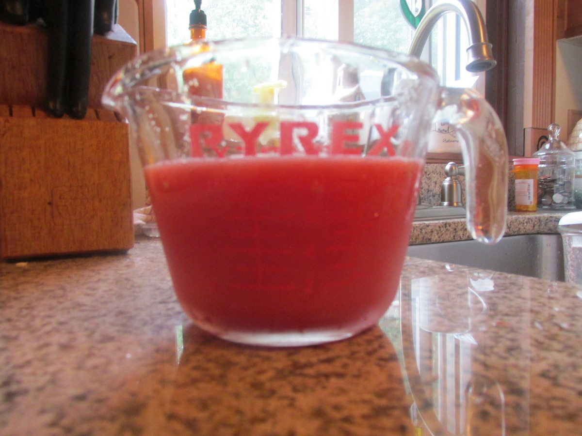 The juice from about 4 cups of cubed watermelon.