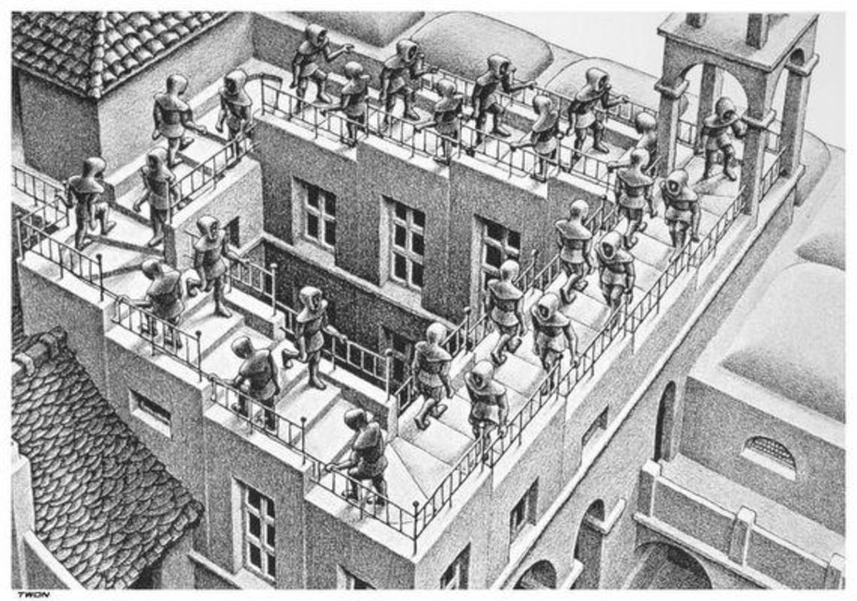 Escher's work often challenges the viewer to question our own perception of reality, by drawing things that are logically impossible in the real world.
