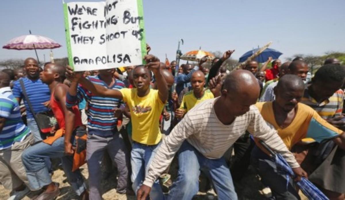 What About Marikana-Youth Demonstrating the killing at Marikan
