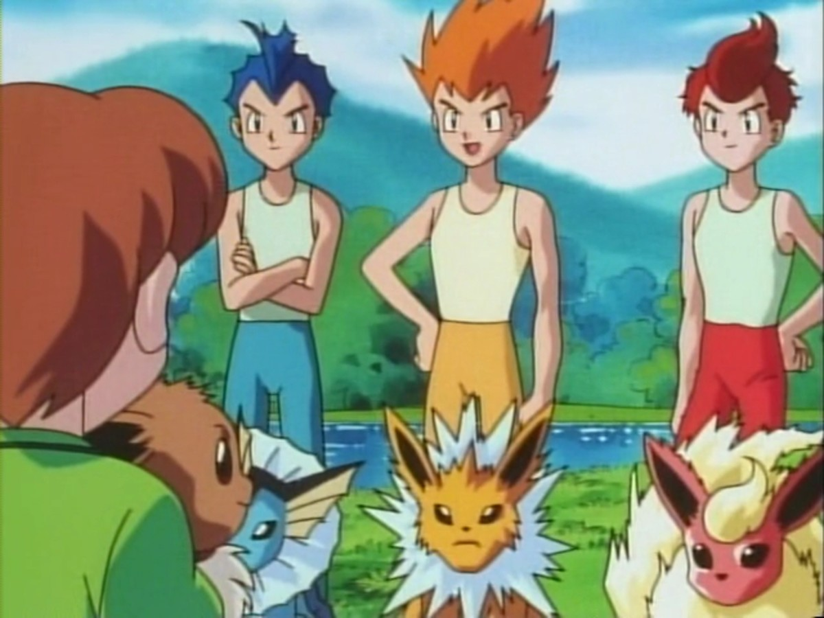 The Eevee Brothers: Rainer, Sparky and Pyro, with their Eevee evolutions Vaporeon, Jolteon and Flareon.