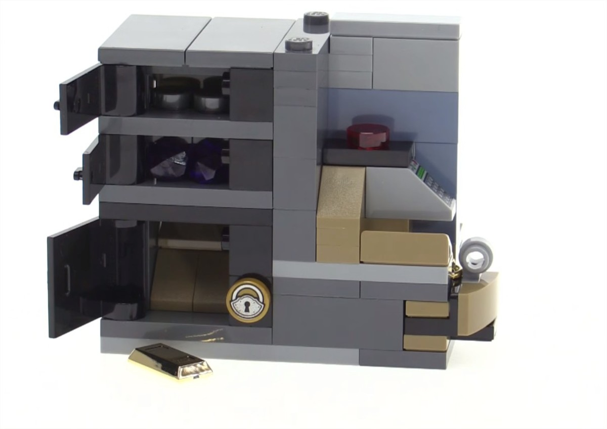 LEGO Creator Brick Bank Modular Building | People are putting money and valuables inside the washing machines and those things they put inside show up in the special bottom.