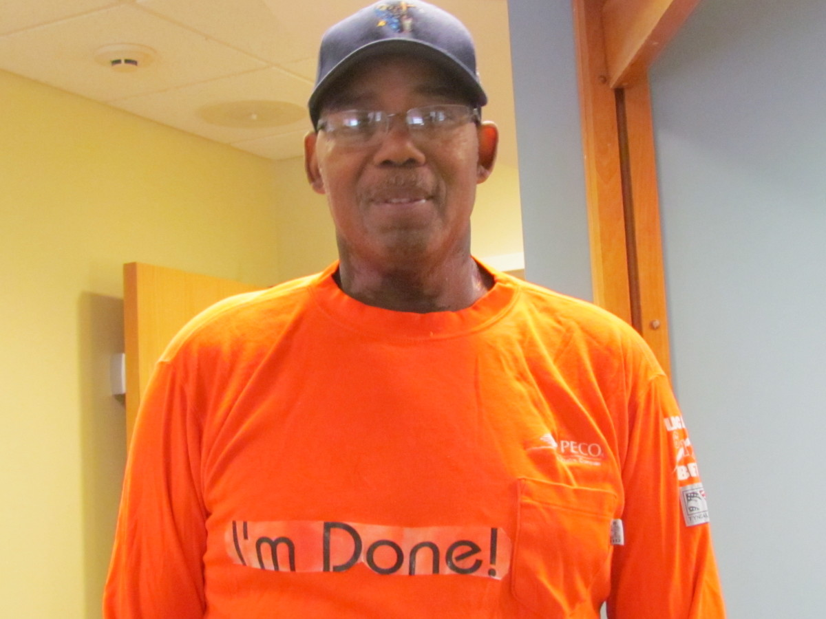 """Our daughter Jaleesa, prepared a special t-shirt that said, """"I'm Done"""" on the front after his last treatments of chemo and radiation."""