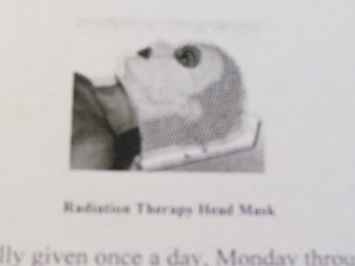 "A Radiation Therapy Head Mask. ""Patients getting radiation to the head may need a special mask. The mask helps keep the head from moving so that the patient is in the exact same position for each treatment."""