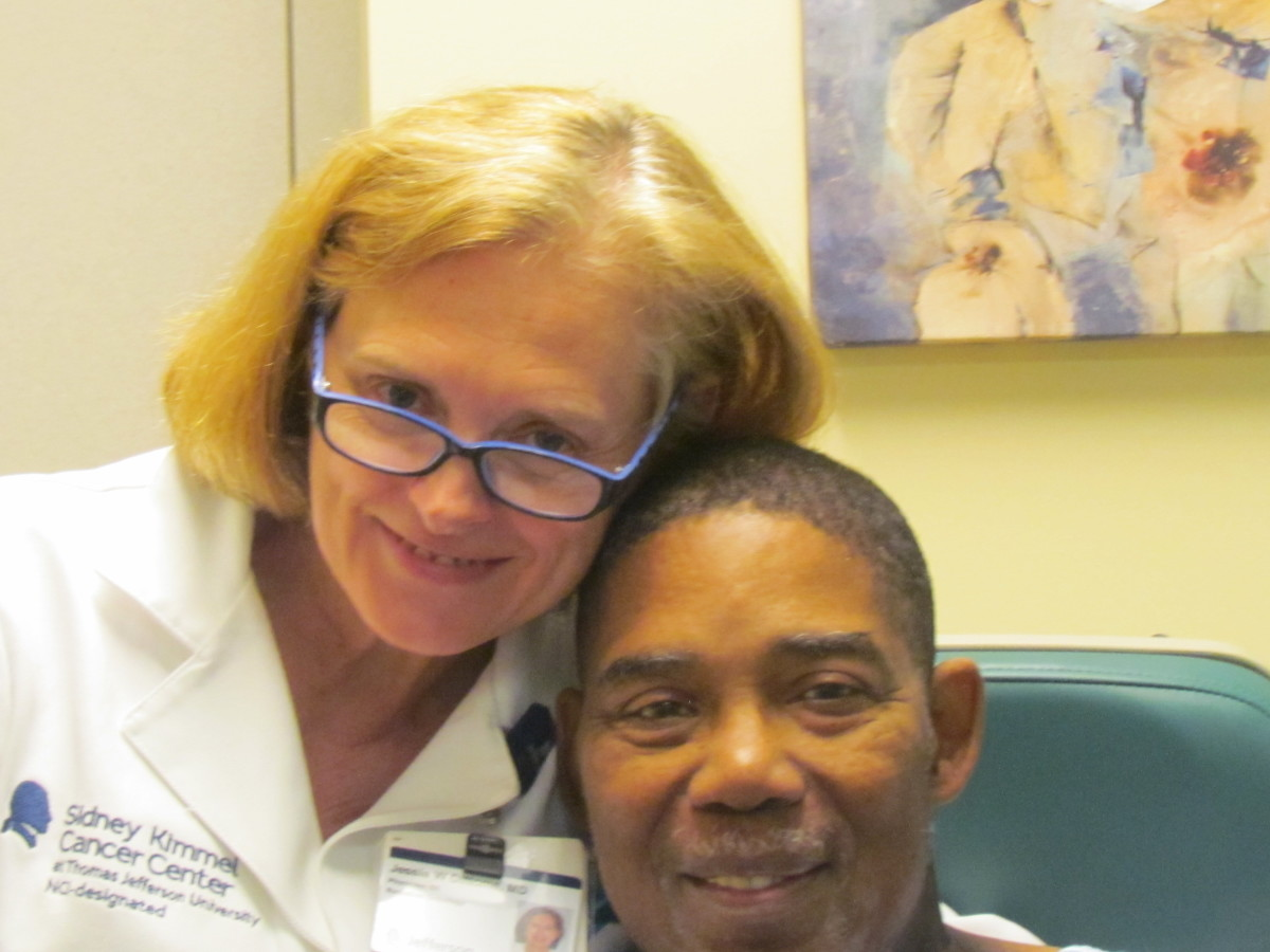 After Walker's last treatment of radiation, he took a photo with his doctor, Jessie W. DiNome, MD, Medical Director of Jefferson Radiation Oncology at Riddle Division of TJUH. Walker's doctor for Chemo Oncology was Benjamin Jacobs, MD.