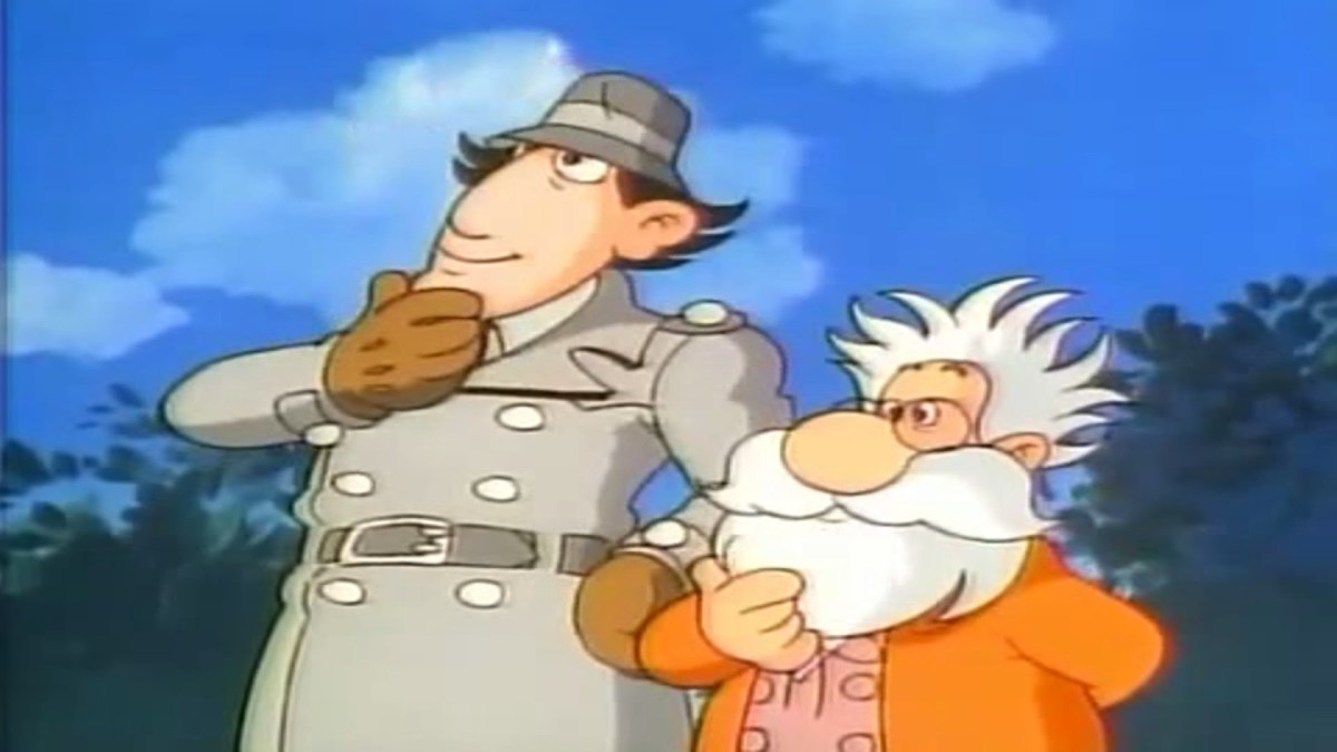 Inspector Gadget (voiced by Don Adams) stands here with Professor Musty, one of the helpful characters in the episode.