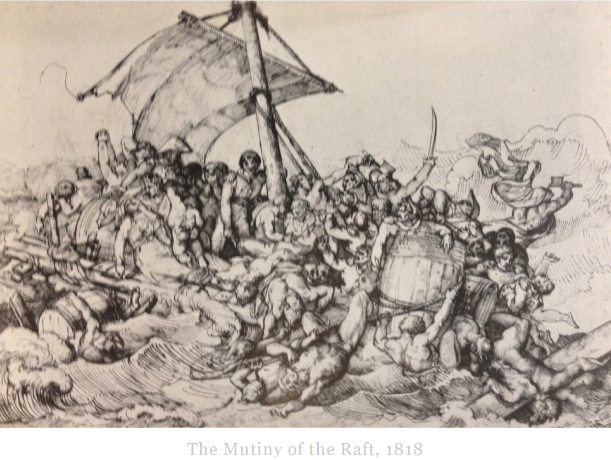 A sketch of the raft when Gericault was deciding how his artwork should look