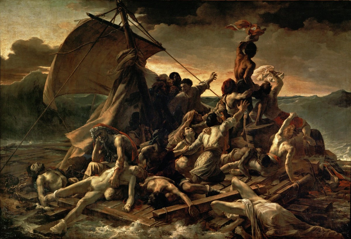 Artist:	Théodore Géricault Year:	1818–1819 Medium: 	Oil on canvas Dimensions:	491 cm × 716 cm (16 ft 1 in × 23 ft 6 in) Location	: Louvre, Paris
