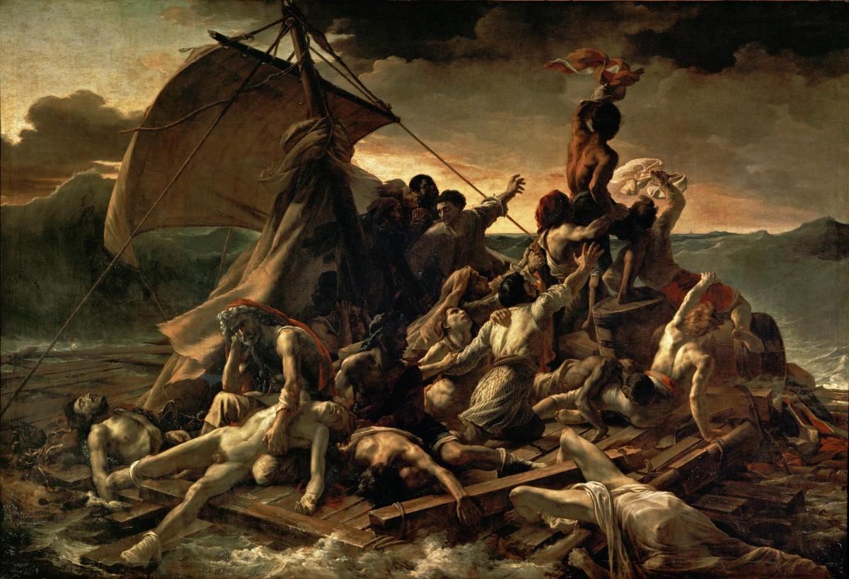 Artist:Théodore Géricault Year:1818–1819 Medium: Oil on canvas Dimensions:491 cm × 716 cm (16 ft 1 in × 23 ft 6 in) Location: Louvre, Paris