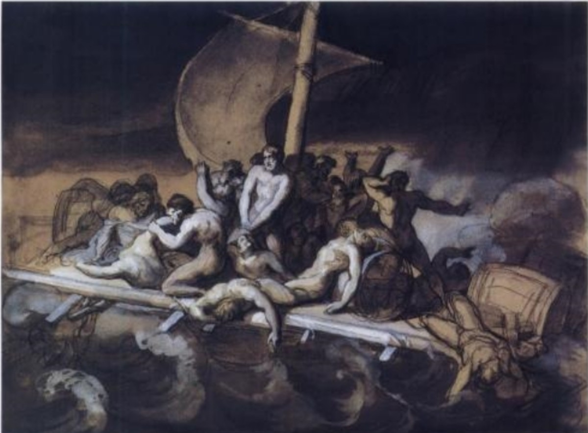 Cannibalism on the Raft of the Medusa, crayon, ink wash, and gouache on paper, 28 cm × 38 cm, Louvre. This study is darker than the final work, and the positions of the figures differ significantly from those of the later painting.