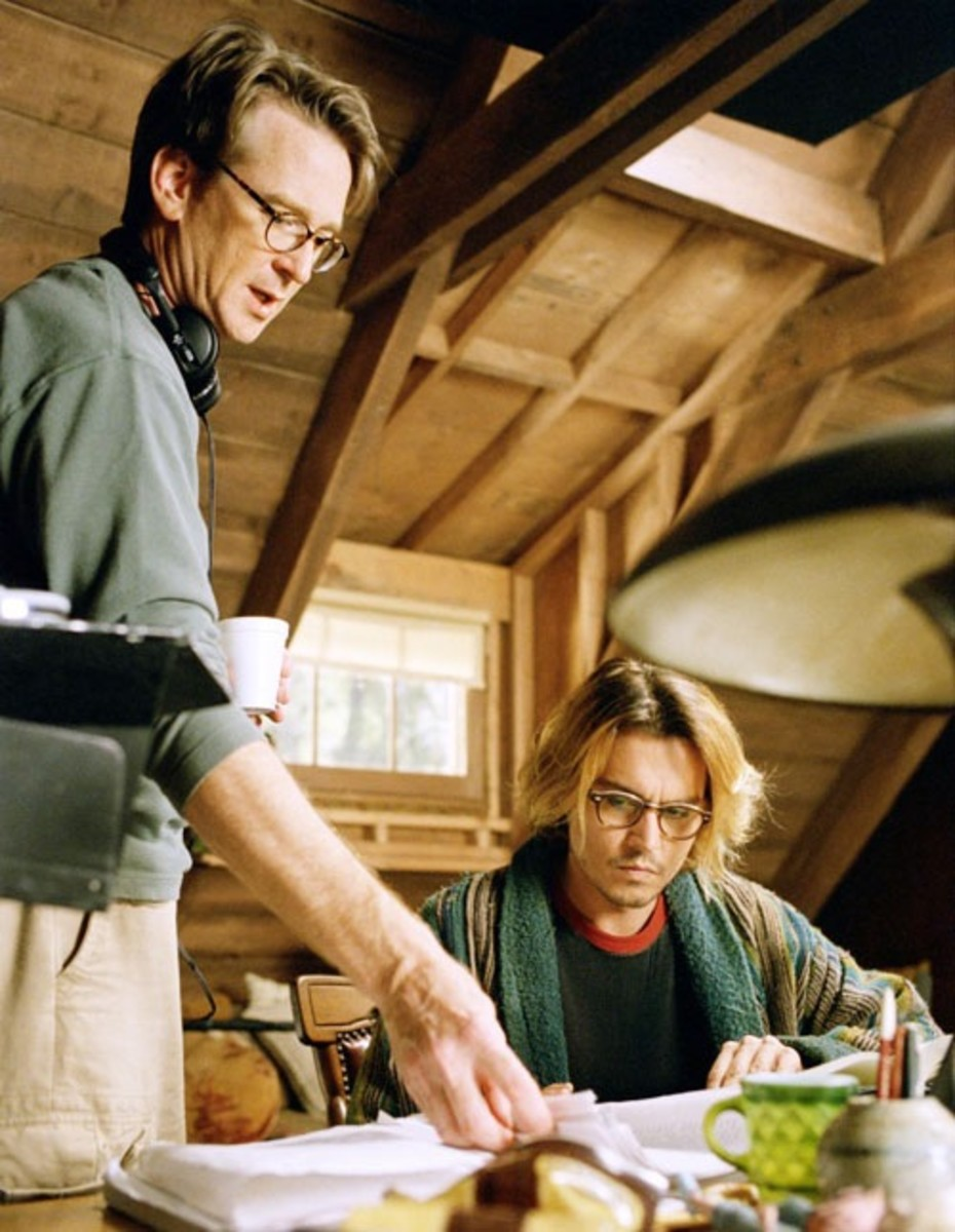 David Koepp & Johnny Depp during the making of the film
