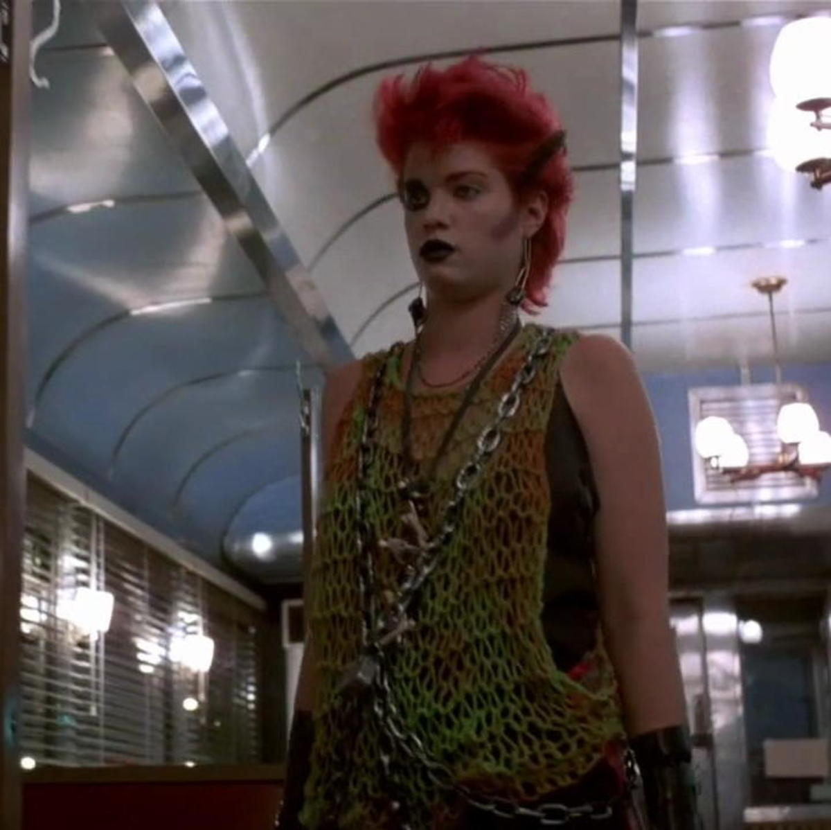 Robin Johnson in a non speaking cameo in After Hours as a punk girl handing out fliers to a club