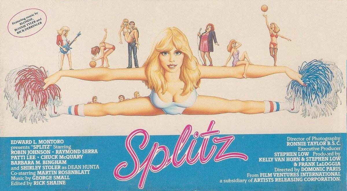 The most original thing about the movie Splitz was it's unusual horizontal movie poster, which was duplicated for it's original home video box.