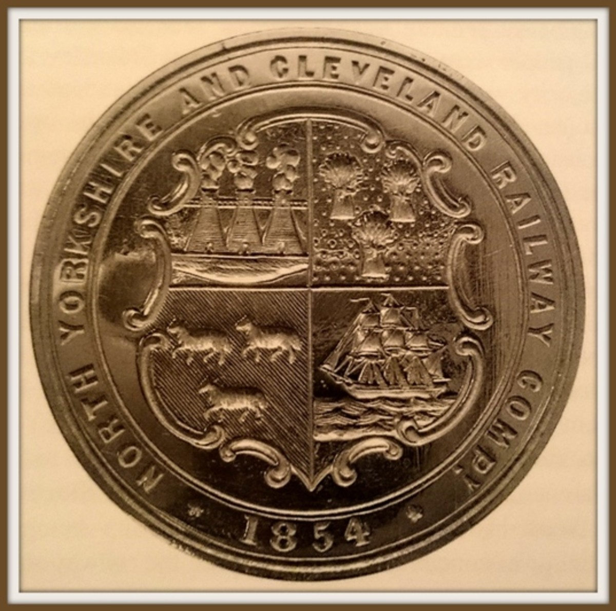 North Yorkshire & Cleveland Railway seal depicts industry, shipping and farming