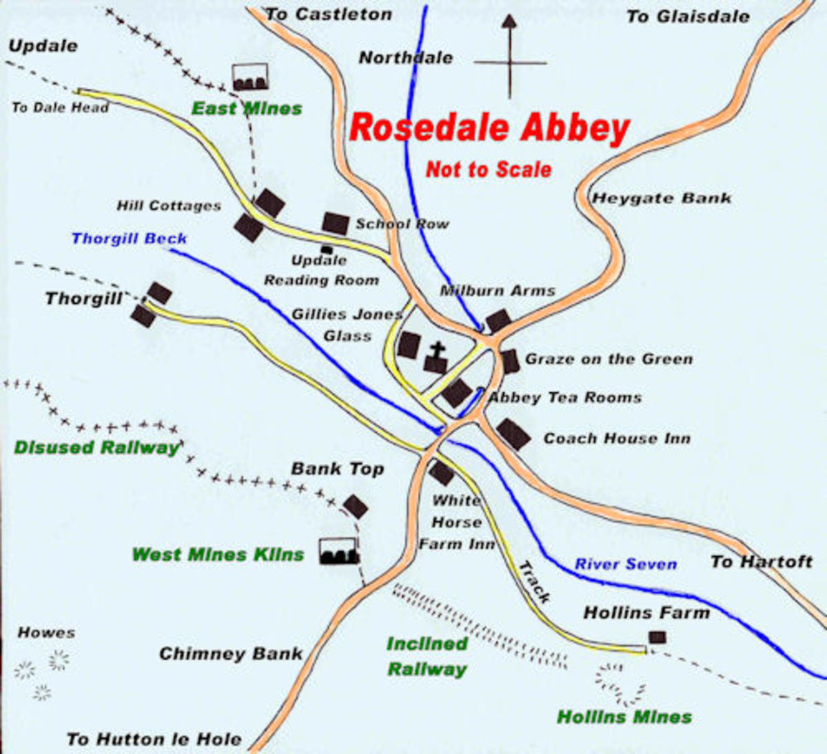 Find your way around Rosedale Abbey. After September things tend to shut down, so make sure if you come out of season you don't leave it too late... or too early!