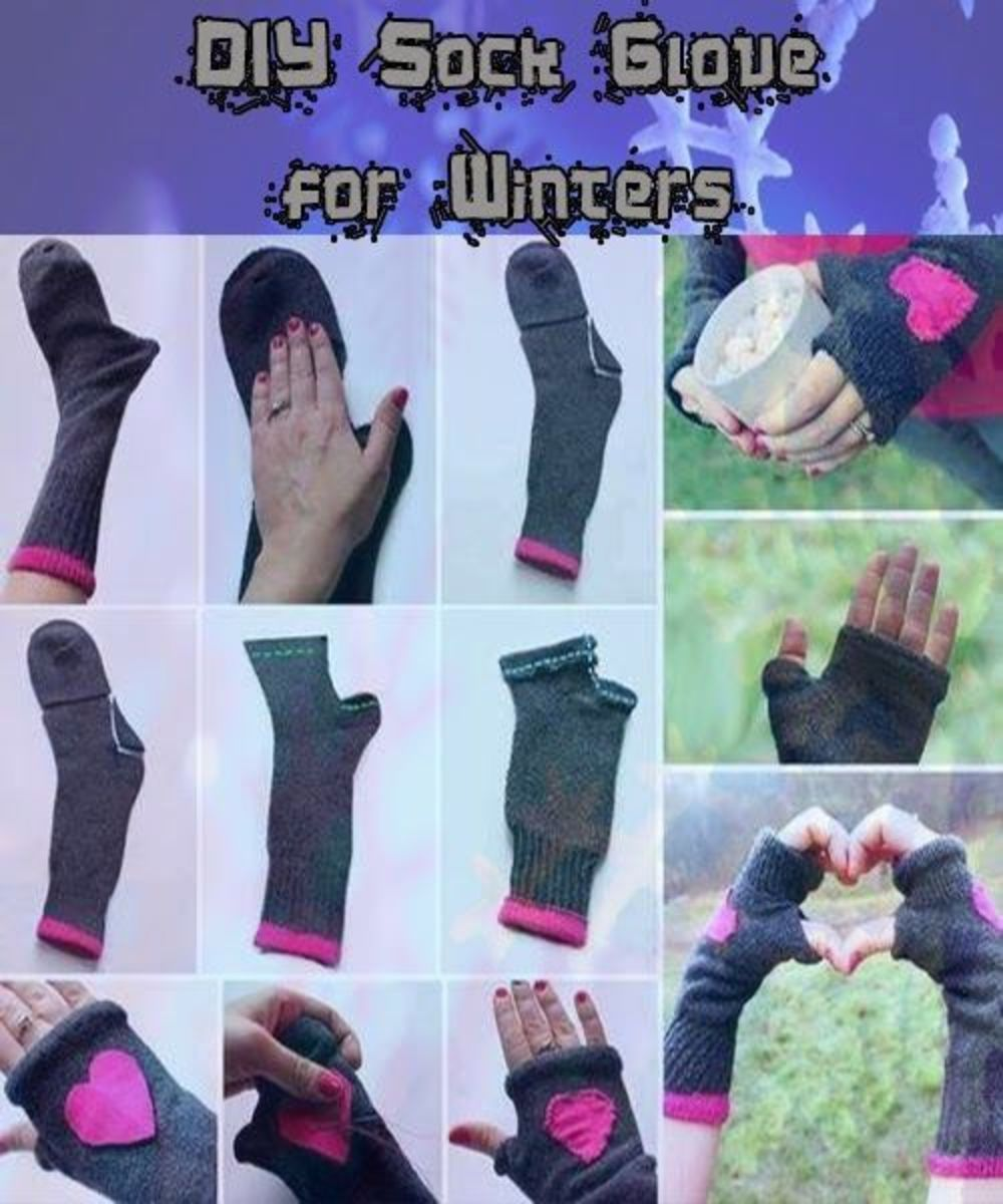 If you have longer socks for the colder weather, get another use out of them, even if the heels and toes are worn through! Original project found here: http://astutehomestead.blogspot.com/2013/11/diy-sock-glove.html