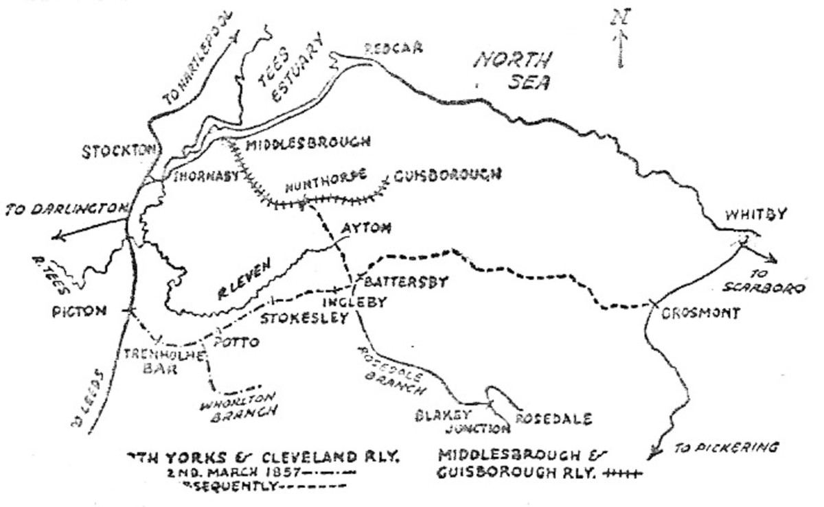 The 1857 plan for eastward extension of the NY&CR from Stokesley.