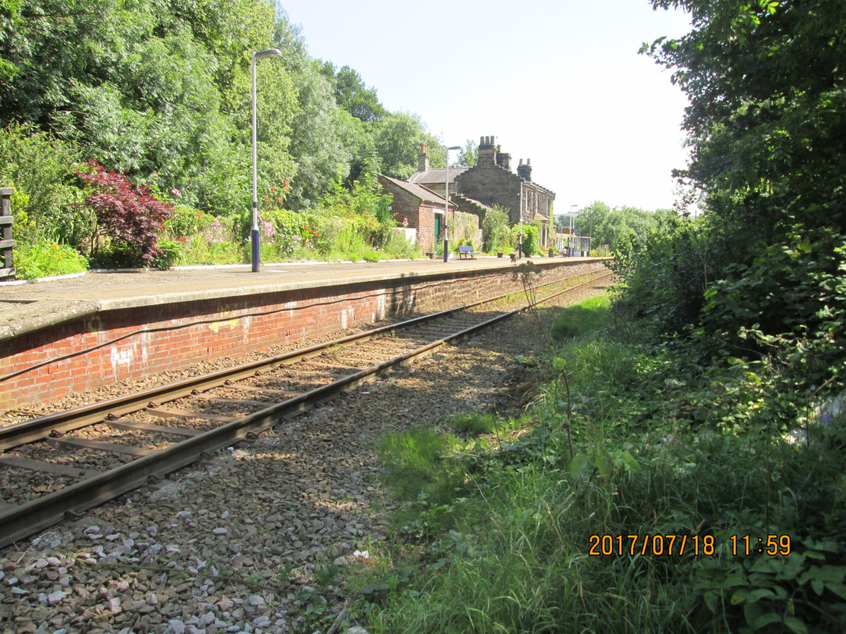 The single brick-faced platform (infill behind) with its stepped gable-ended building characteristic of stations around Eskdale - including Glaisdale and Lealholm on this branch, Goathland on the NYMR