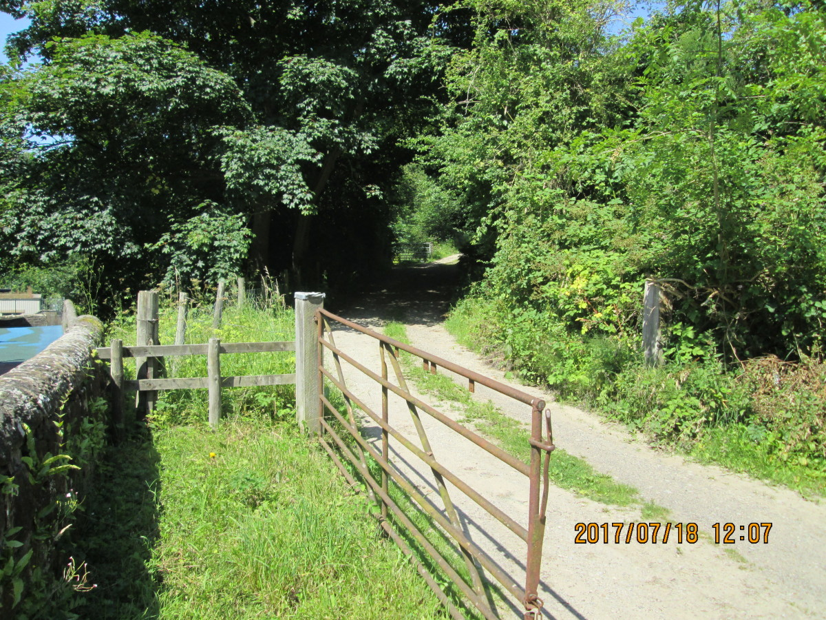 The goods shed approach track from the road to hilltop Egton Cross village. Delivery lorries faced a challenging climb either way on their rounds