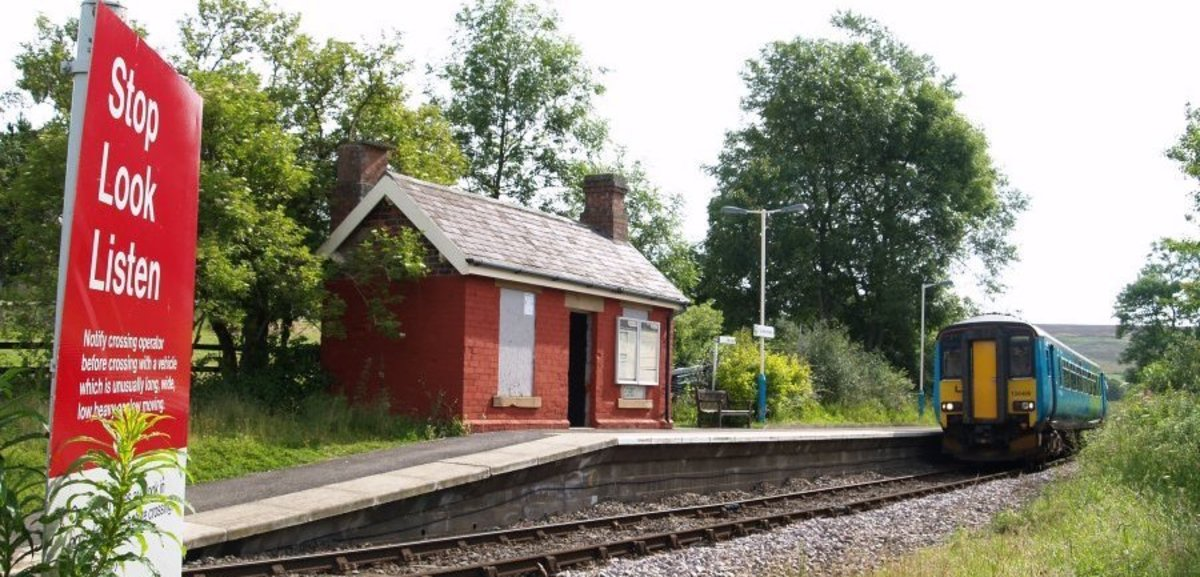 This is the waiting shelter at Commondale Halt as it is now; a short two car diesel unit  from Whitby heads up to Middlesbrough by way of Battersby