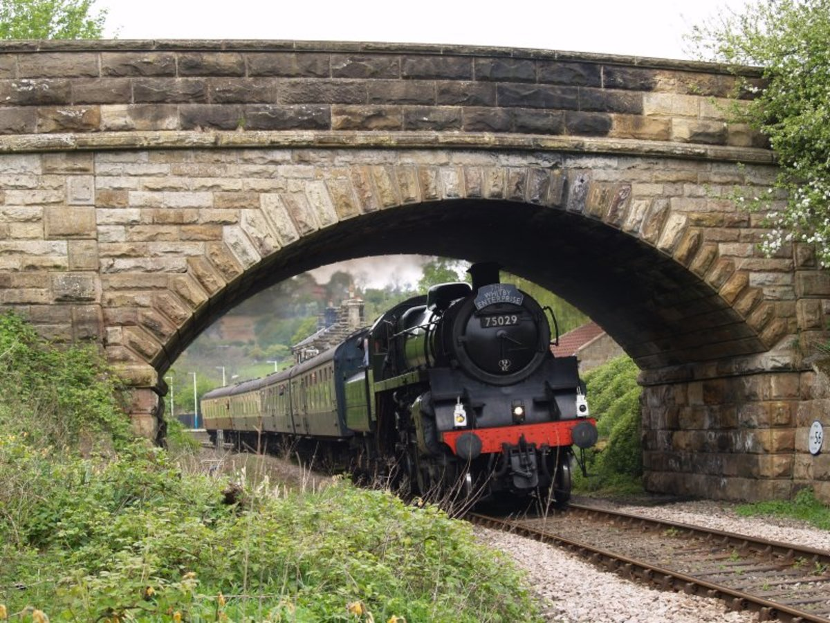 Preserved BR Class 4 4-6-0 75029 brings the 'Whitby Enterprise' through Danby Station under the road bridge