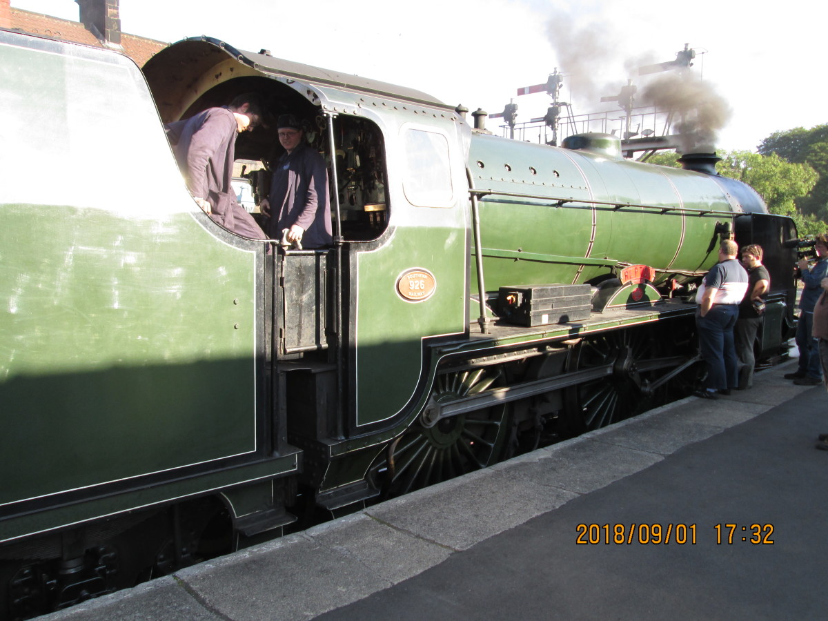 'resident visitor', Southern Railway Schools Class 4-4-0 'Repton' awaits the 'off' at what was the 'Down' (Whitby) platform, to return through the tunnel to Deviation Shed