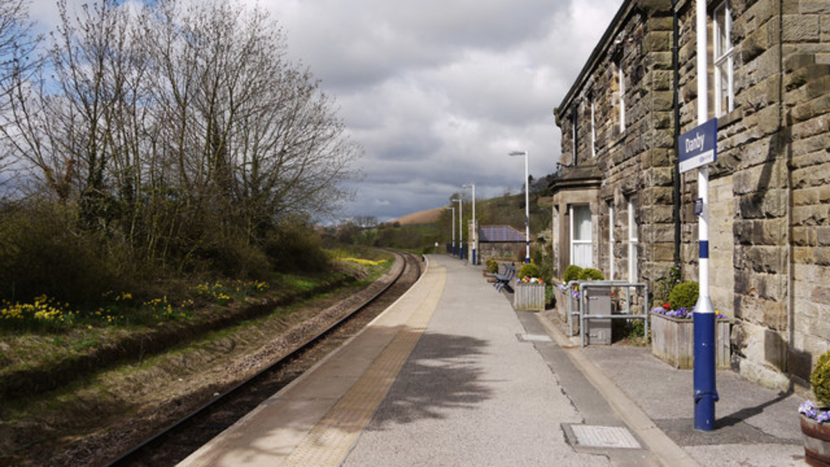 Danby Station looking west towards Castleton - the buildings haven't changed, it's just the platform 'furniture' that's been updated