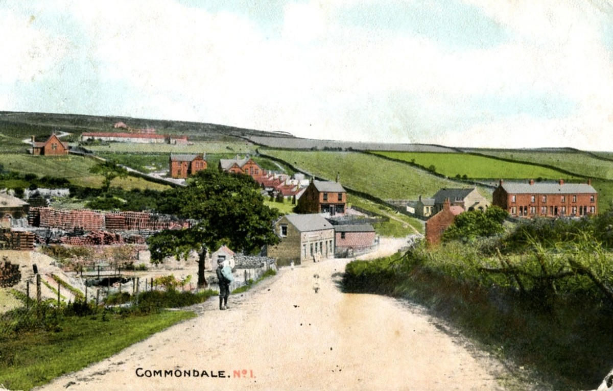 Period postcard view of Commondale looking past the brickworks on the left. Since this shot was taken the trees and houses have grown, although there has never been road access to the station...