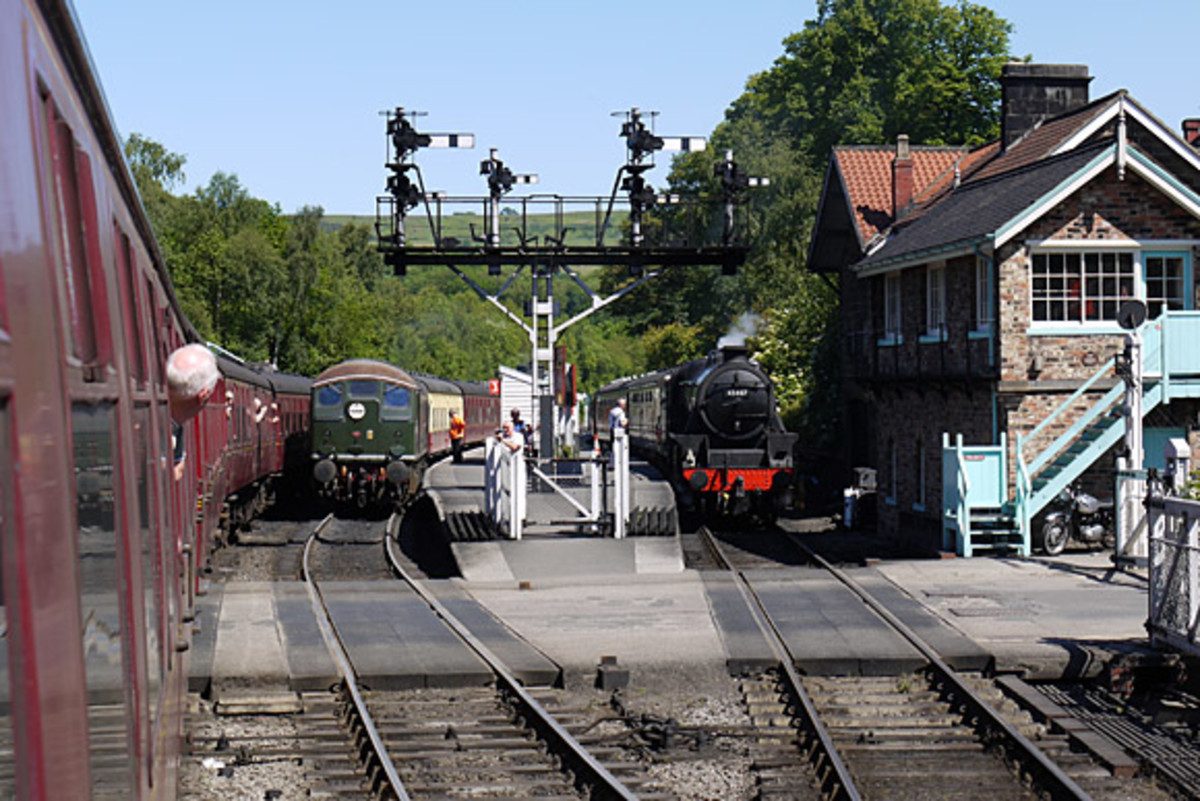 Grosmont station, North Yorkshire Moors Railway. The main platform on the left is used for non-stop onward travel to Whitby - NER Southern Div style signal cabin on the right (built 1995 with bricks retrieved from Whitby Town's 3-storey cabin
