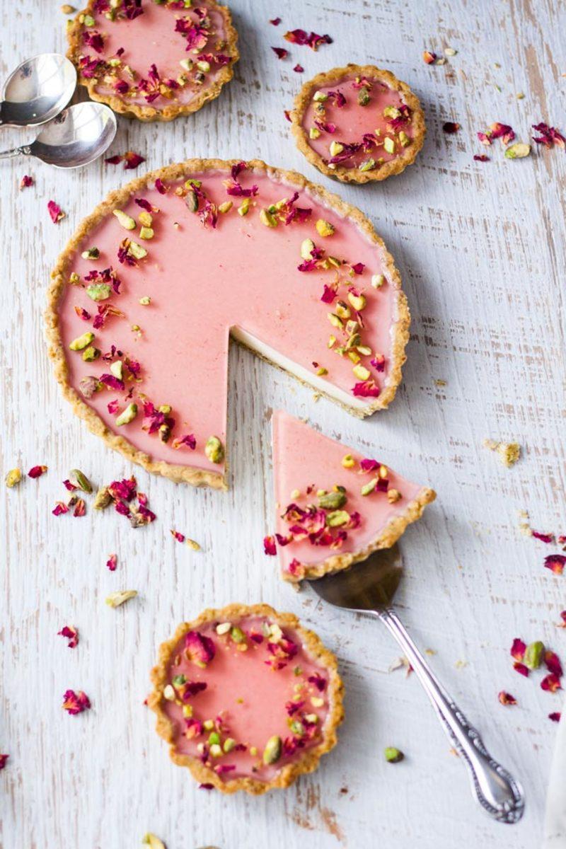 Pistachio-Rose Tarts